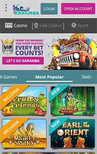 The mobile site of the well known Karamba casino