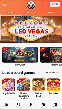 The mobile site of LeoVegas