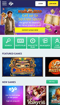 Screenshot of the Playojo mobile page