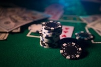 Some casino chips and cards
