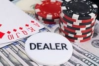 A poker image with a dealer chip